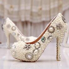 Elegante Elfenbein Perle Partei Prom Schuhe Großhandel Erstaunliche Custom Design Freies Verschiffen Hochzeit Brautschuhe Geburtstag Partei Pumpen