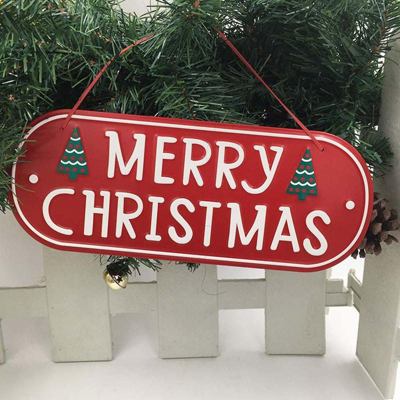 Merry Christmas Door Gate Decoration Hanging Pendant Panel Christmas Letter Iron Store Mall Home Christmas Decoration 40