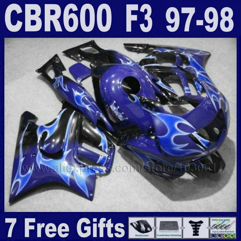 Customize ABS Motorcycle fairings kits for Honda 1998 CBR600 F3 1997 CBR 600 F3 97  98  blue fairing kit+Tank cover motorcycle parts for honda cbr 600 f3 fairings 1997 1998 cbr600 f3 97 98 black silver seven star fairing kit d6