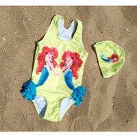 children Swimwear with hat little cute mermaid printed Bathing Suit SwimSuit beachwear