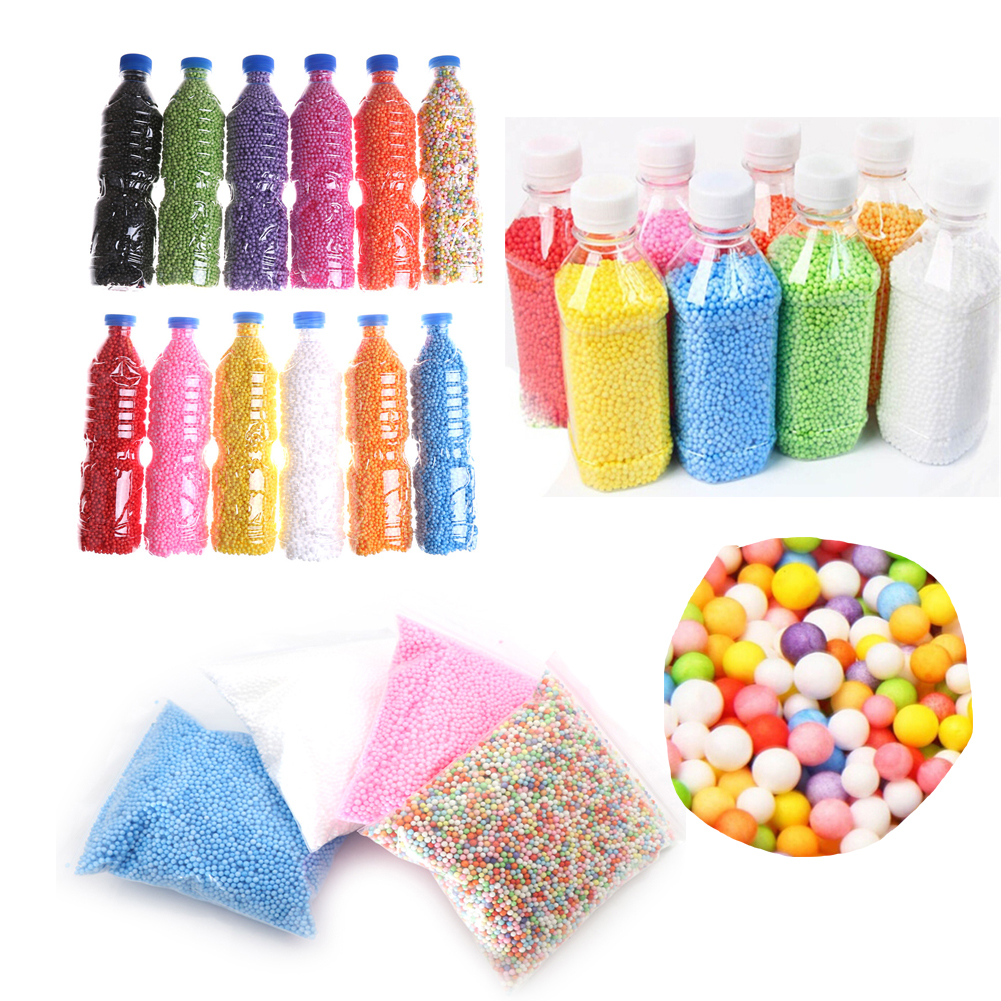 Learning & Education Warm Color Snow Mud Particles Accessories Tiny Foam Beads Slime Balls Supplies Glass Bottles Diy