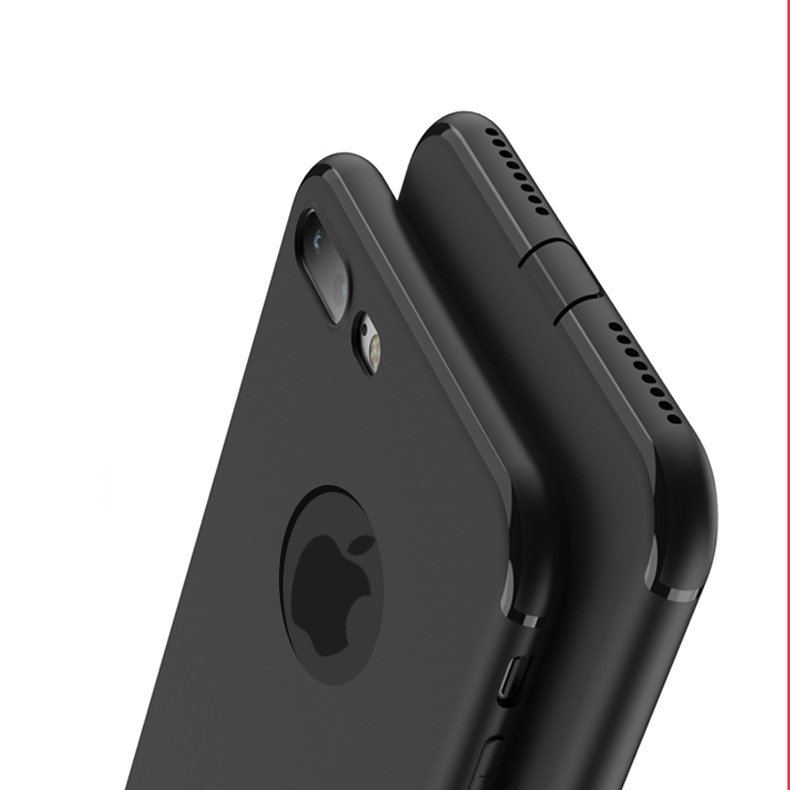 Fashion Black Rubber back cover for Apple iphone 6 case Soft Silicon case with logo window for iphone 7 6s plus case