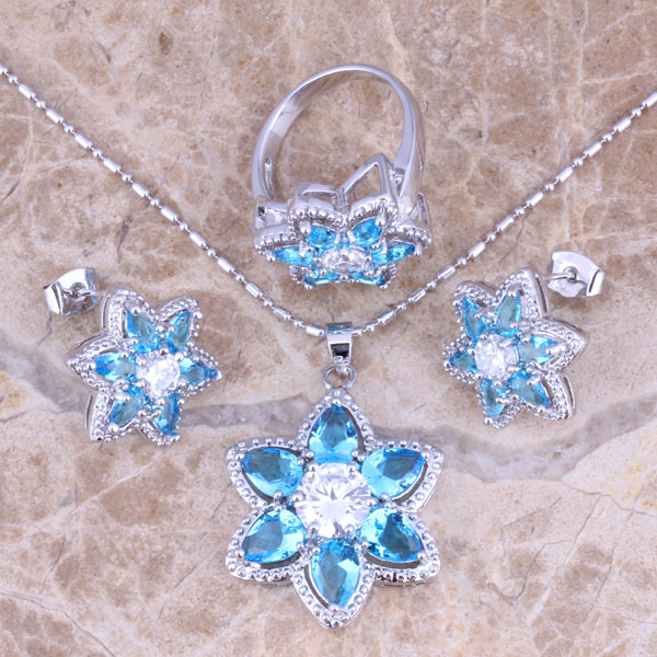Angelic Sky Blue Cubic Zirconia White CZ Stříbrné šperky Sady - Bižuterie