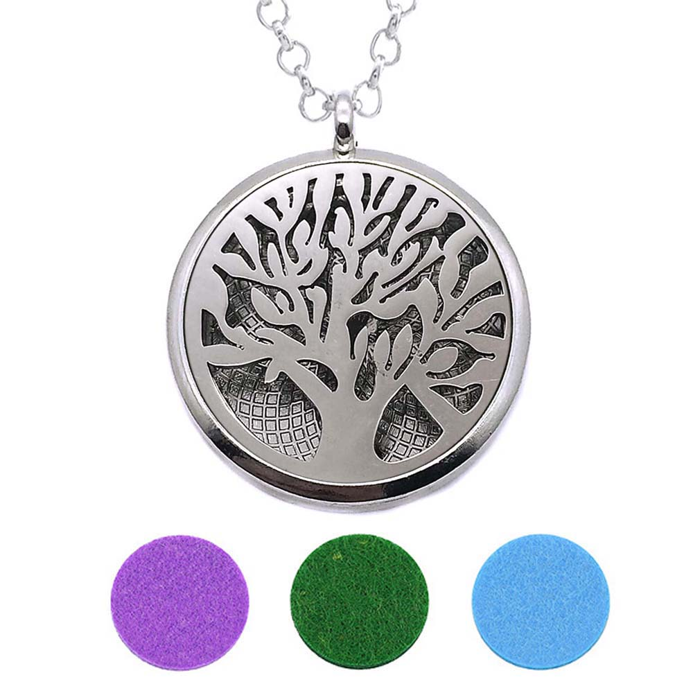 With Snake Chain 227 Tree New arrival 30mm Perfume Essential Oils Diffuser Locket Necklace With 3 Pads Women Teenagers Gift