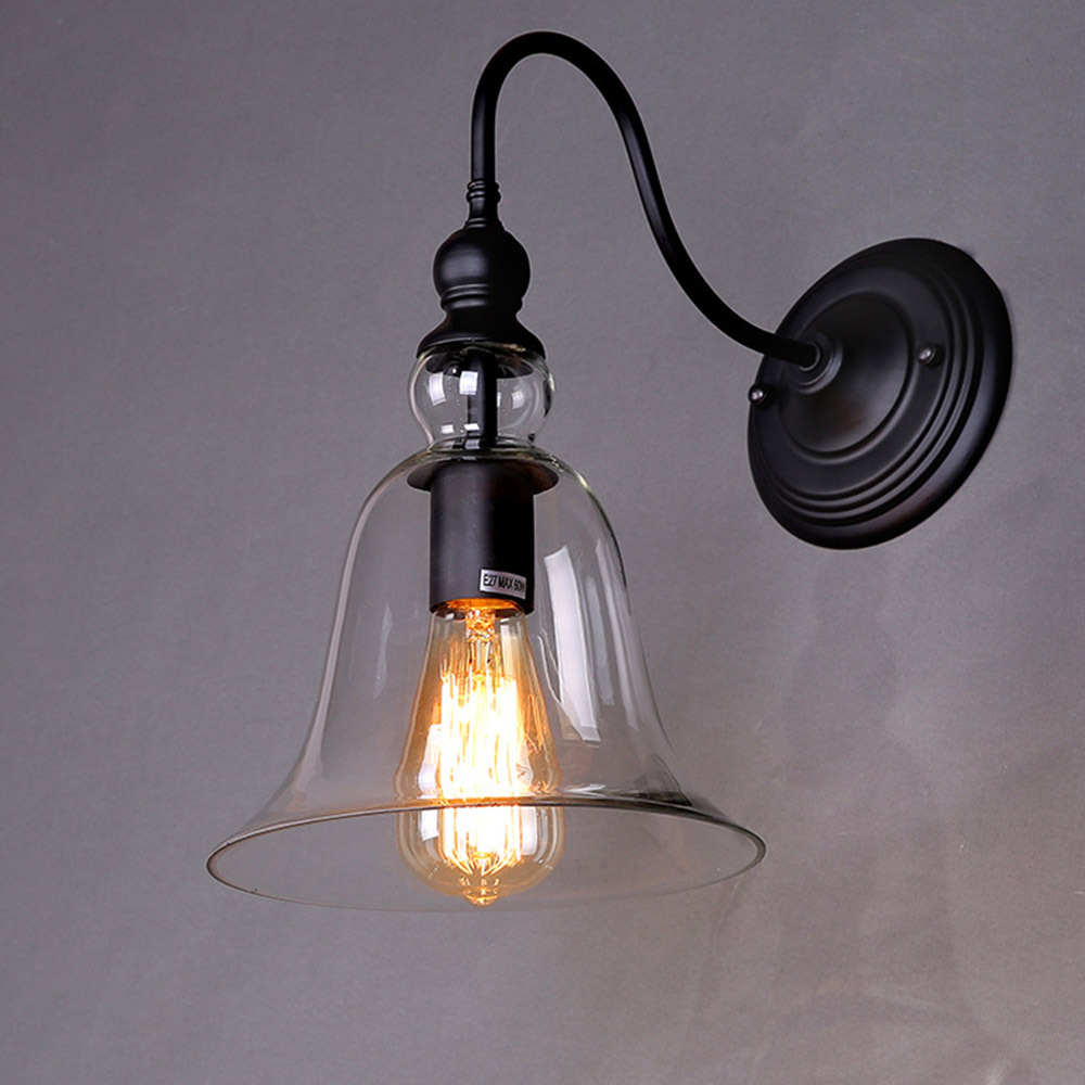 rh loft vintage bell shape loft glass wall sconce clear glass shade wall lights barcafe storehome wall lamp decor hot bending