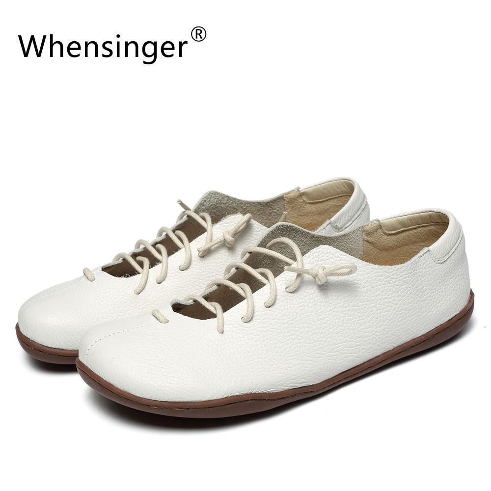 Whensinger - 2018 New Women Shoes White Lace-Up Genuine Leather Flats Fashion Design 2061 цена 2017