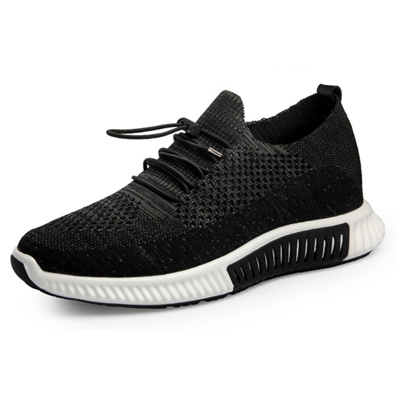 Outdoor Fashion Flyknit Hollow Breathable Height Increase Sport Shoes Hidden Lift insole Taller 6.5CM Elevator Sneakers for Men