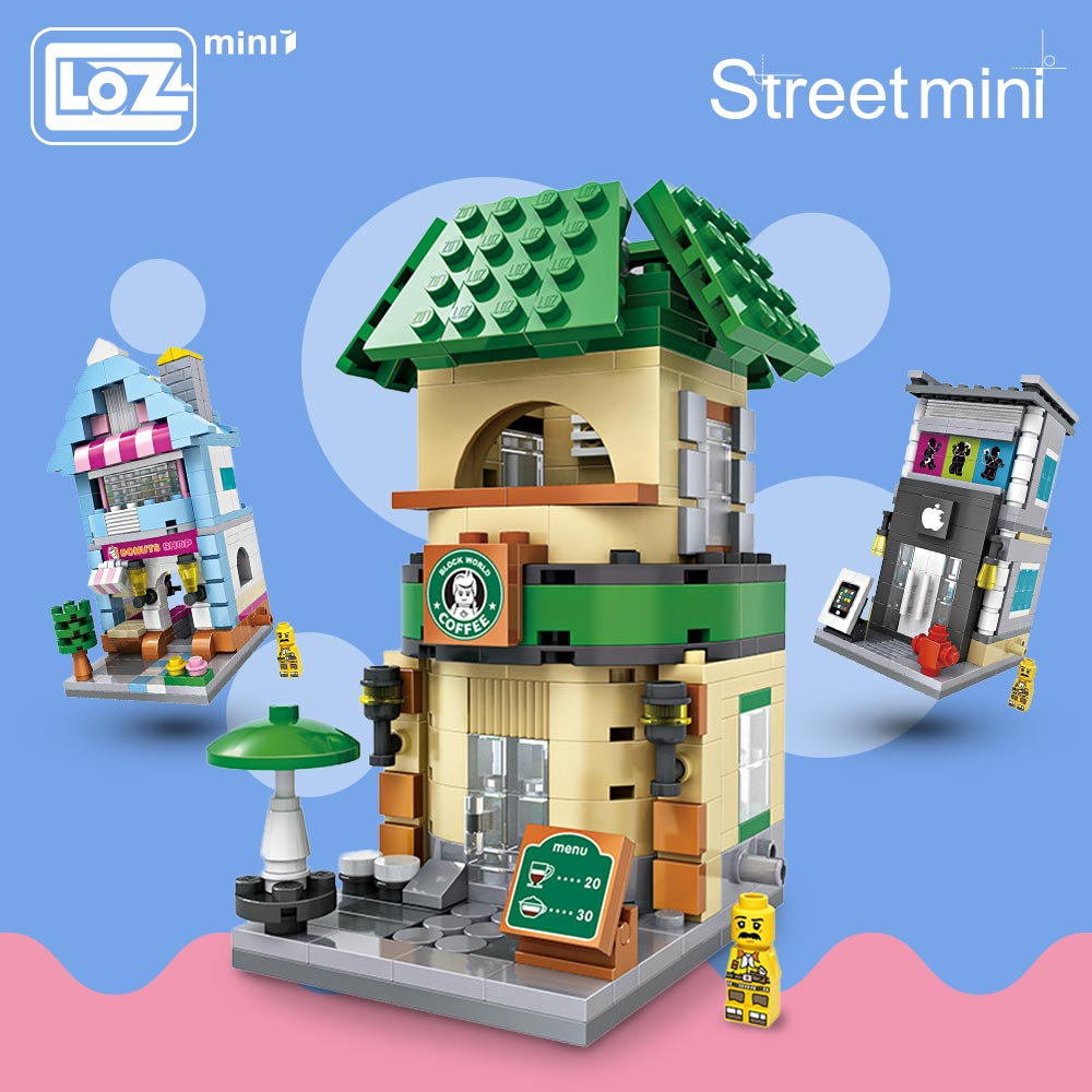 LOZ Blocks City Mini Street Bricks Sett Arkitektur Building Blocks Educational Leker For Children Forge World House 1601-1608