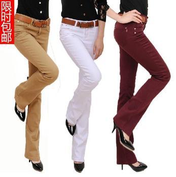 Ücretsiz kargo Artı Boyutu kadın moda bot Kesim Pantolon Şeker Renk Pantolon kalem pantolon Uzun Moda Ince Resmi Pantolon