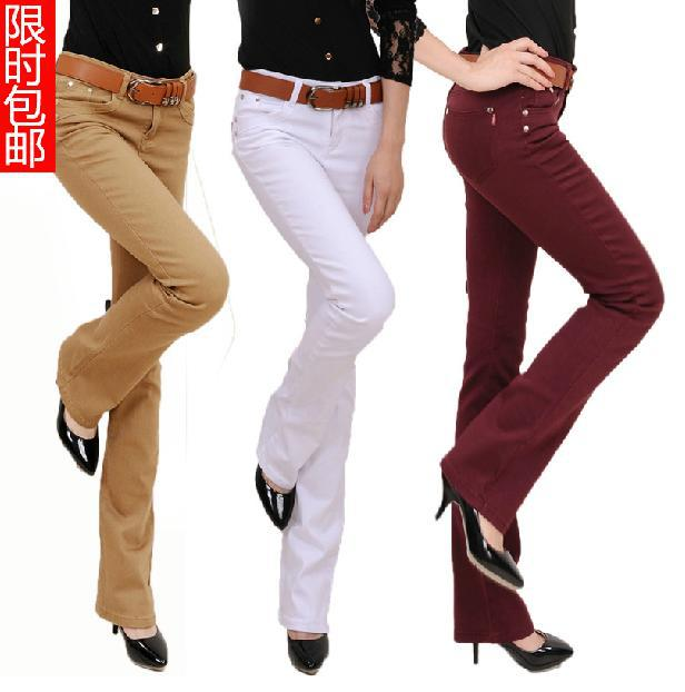 Free shipping Plus Size Women 's Fashion Boot Cut Trousers Candy Colors Pants pencil pants Long Fashion Slim Formal Trousers free shipping 2017 new fashion long spring and summer bell bottom jeans boot cut women slim long trousers lacing up flare pants