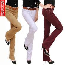 Бесплатная доставка Плюс Размер женская Мода Загрузки Cut Брюки Конфеты Цвета Брюки карандаш брюки Длинные Мода Тонкий Классические Брюки