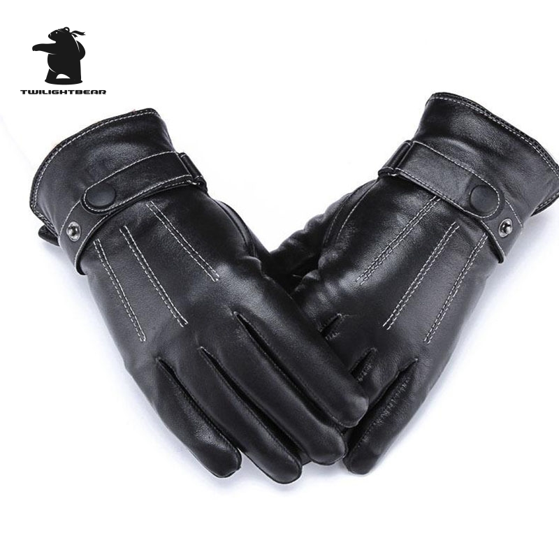 Winter Fashion Black Leather Gloves Outdoors Windproof Warm Touch Screen Washable Leather Fleece Gloves For Men And Women C33EP8