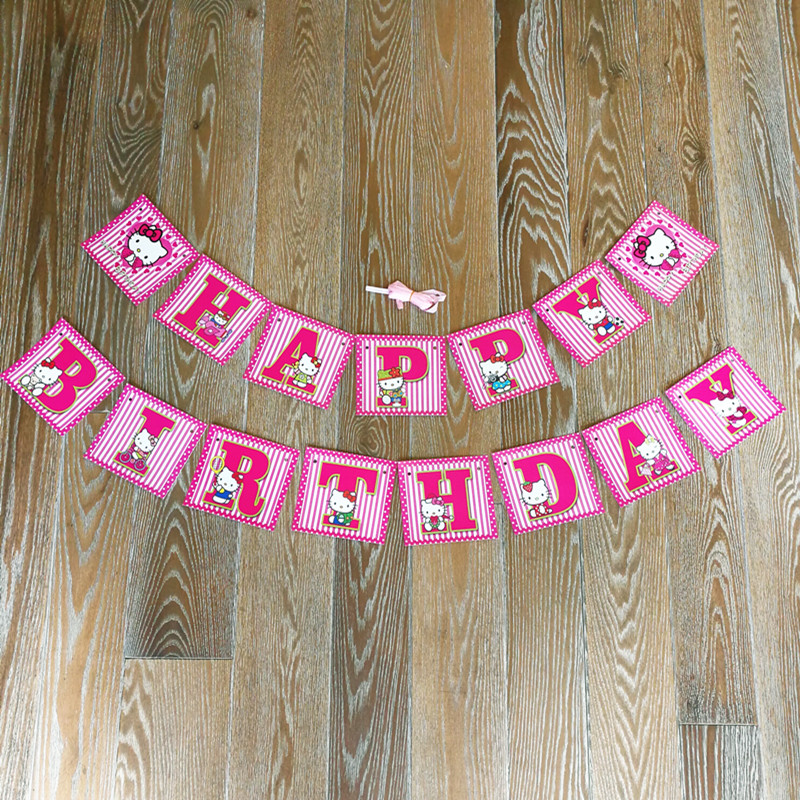 2.8M Banner Hello Kitty 15pcs small Flags Pink Cute Theme Kid Boy Birthday Party Decoration supplies