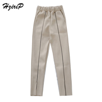 HziriP Formal Woolen Harem Pants For Girls High Waist Slip Pocket Trousers Female Autumn Winter Ankle