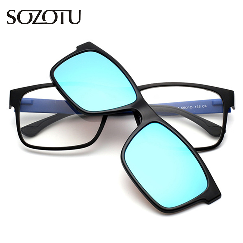 TR90 Optical Eyeglasses Frame Men Women Clip On Magnets Polarized Sunglasses Myopia Glasses Spectacle Frame For Male YQ189