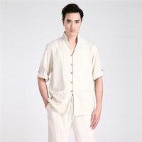 Hot New Beige Summer Male Short Sleeve Kung Fu Shirt Men Fashion Cotton Linen Martial Arts
