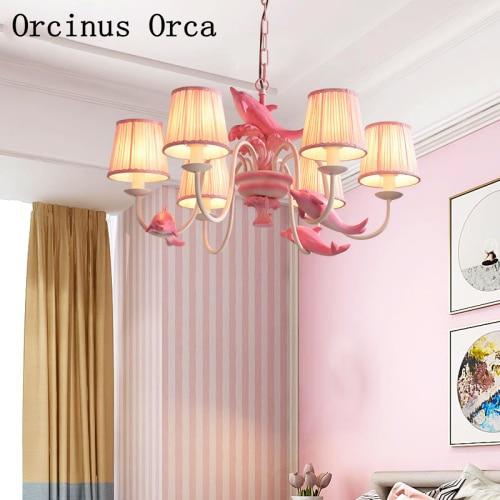 European Pastoral Pink Dolphin Chandelier Girl's Bedroom Children's Room Light Cartoon Creative LED Fish Chandelier