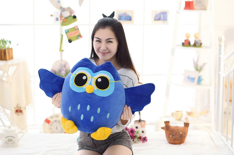 big new plush blue owl toy creative owl hand warmer doll gift about 55cm soft winter hand warmer plush style plush hand warmer plush pillow hand cushion toys for child christmas gift a6
