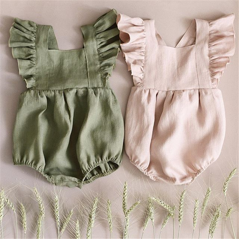 EnkeliBB New Born Baby Girls Summer Clothing Pretty Sleeveless one-piece Triangle   Romper   New Baby Girl Pink/Green Lovely Clothes