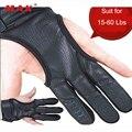 Перчатки на 3 пальца  кожаные  черные  высокоэластичные  для защиты рук  стрельбы из лука Защитный перчатки для стрельбы из лука  охоты