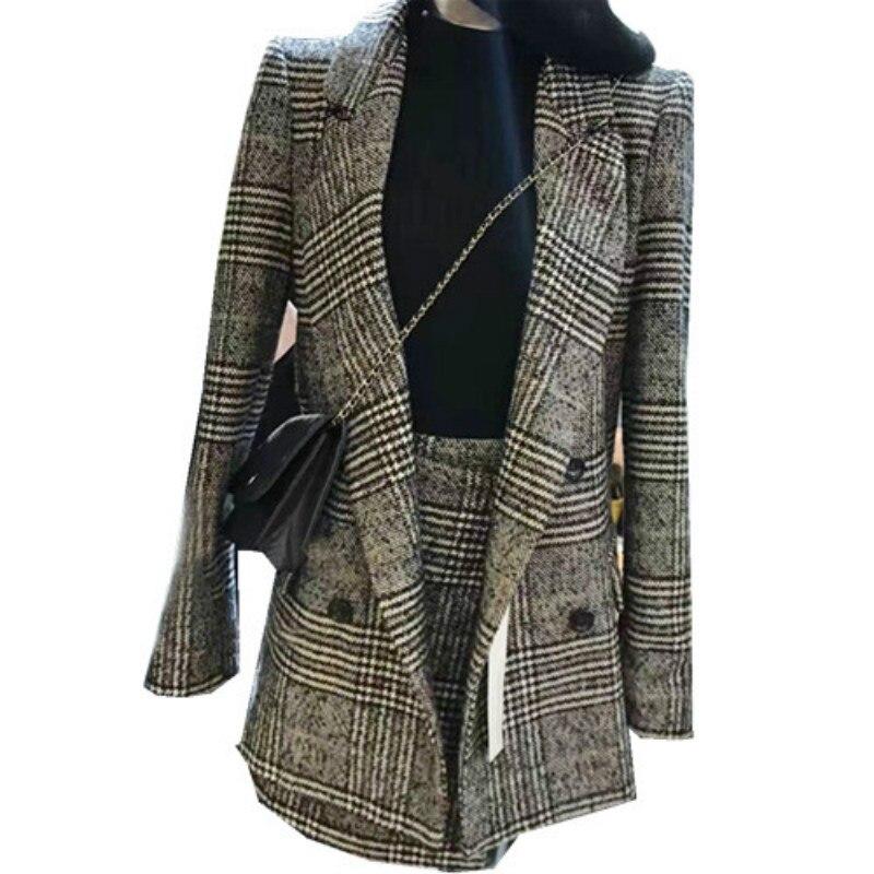 Fashion Woolen Plaid 2 Two Piece Set For Women Double Breasted Lattice Long Jacket +irregular Mini Skirt Set Suit Tracksuit