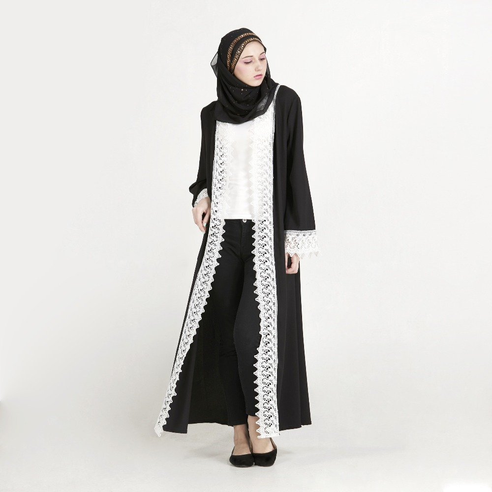 Elegant Islamic Open Abaya Muslim Maxi Dress Cardigan Lace Long ...
