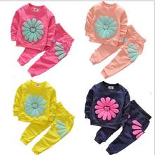 2016 new sunflower design girls clothes set casual sports baby kids clothing suit tshirts+pants 2 pieces set children clothing