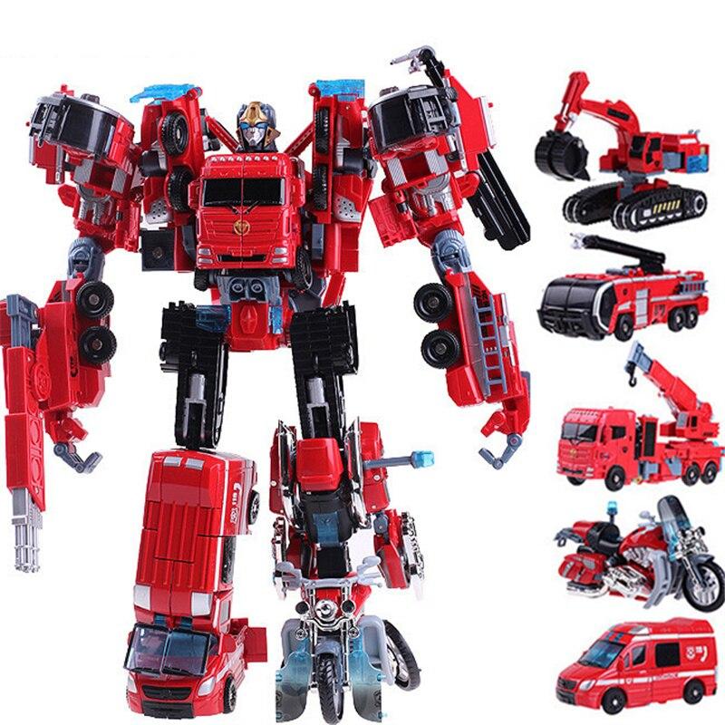 100% Kwaliteit 5 In 1 Abs Plastic Transformatie Speelgoed Grote Grootte 35 Cm Robot Auto Techniek Fire Rescue Crane Motorfiets Graafmachine Vrachtwagen Speelgoed Jongens Aantrekkelijke Mode