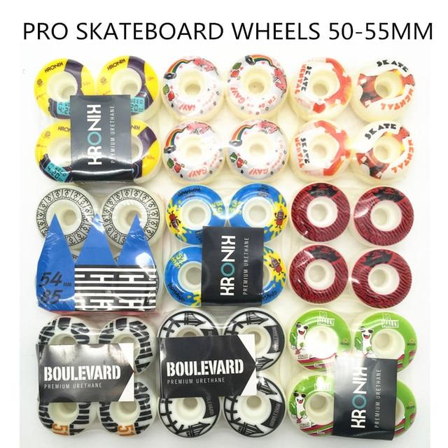 أجزاء لوح التزلج الرياضي المتطرف رخيصة الثمن للمحترفين عجلات تزلج ملونة PU 51 55 مللي متر Rodas للوحة تزلج