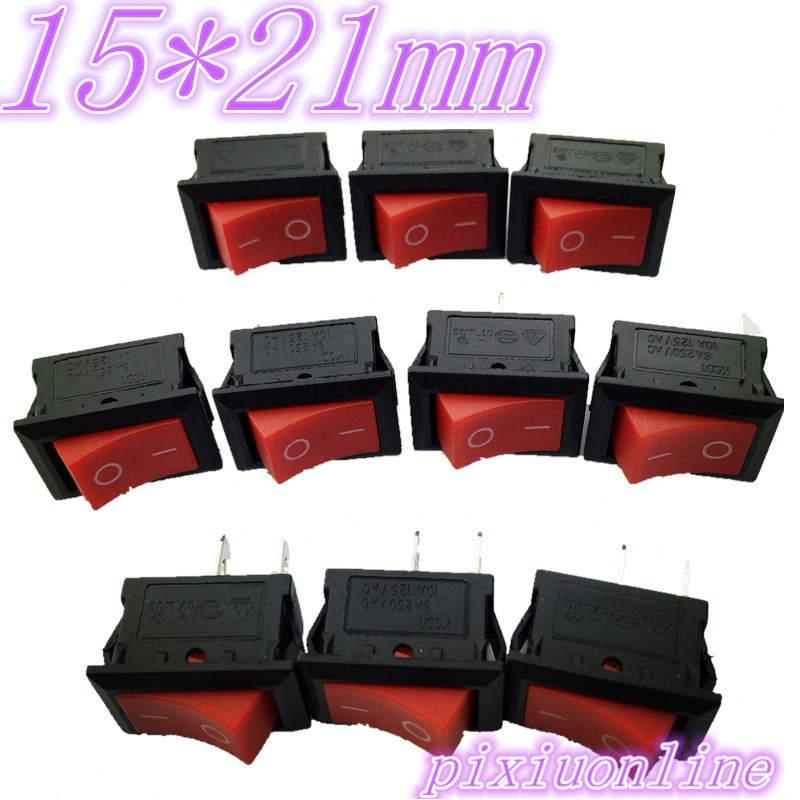G127Y 10pcs RED 15*21mm SPST 2PIN ON/OFF Boat Rocker Switch 6A/250V 10A/125V High Quality Cheaper Sell At a  Loss