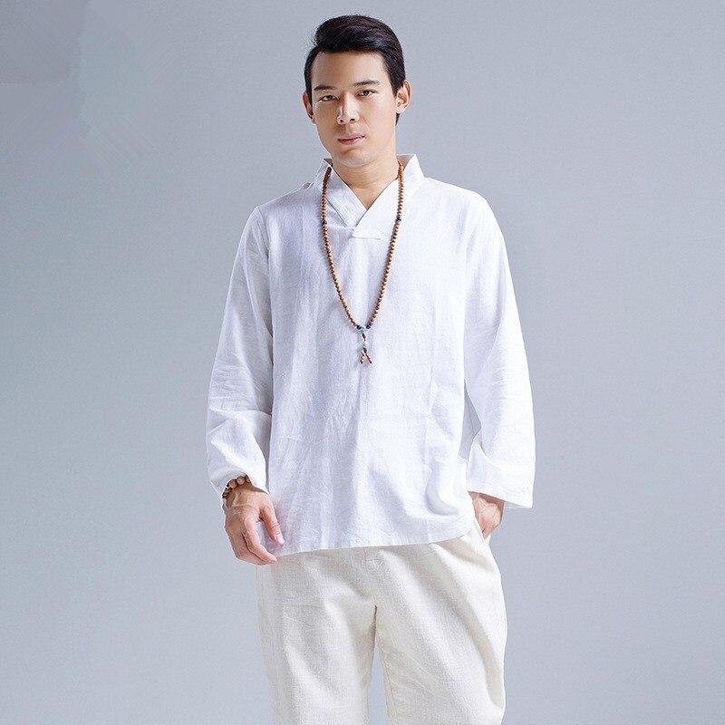 K2169 Chemise ethnique kung fu col mao navy blue coton doux