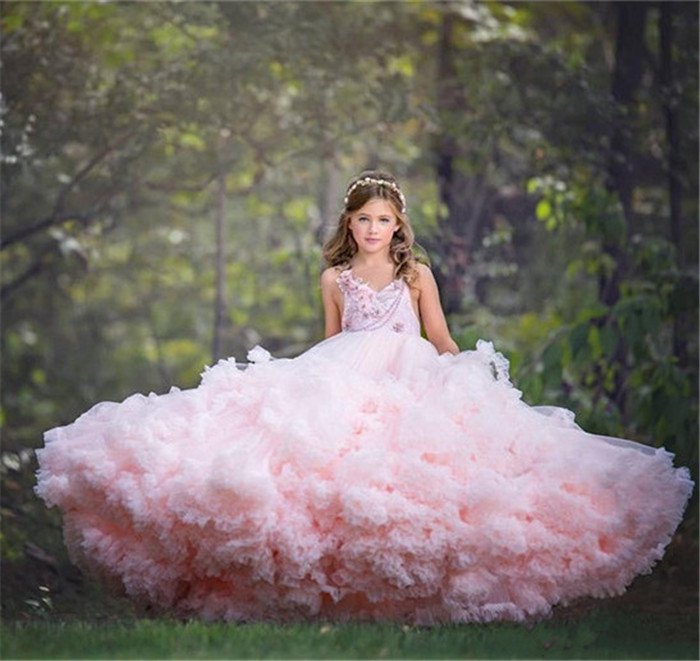Pink Cloud Puffy   Girls   Birthday Party   Dress   Pageant Gown V Neck Tiered Tulle   Flower     Girl     Dress   for Wedding Kids Pageant Gown