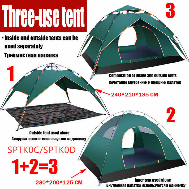 Tent Beach 3-4 People Travel Double Layer Automatic Tent Outdoor Camping Park Camp Rainproof Sunscreen With Mosquito Net
