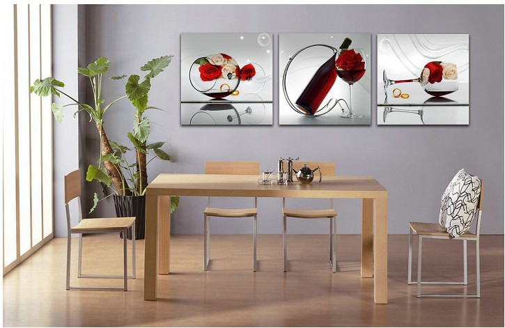 free shipper 3 piece wall art dining room wall paintings with frame oil painting wall pictures. Black Bedroom Furniture Sets. Home Design Ideas