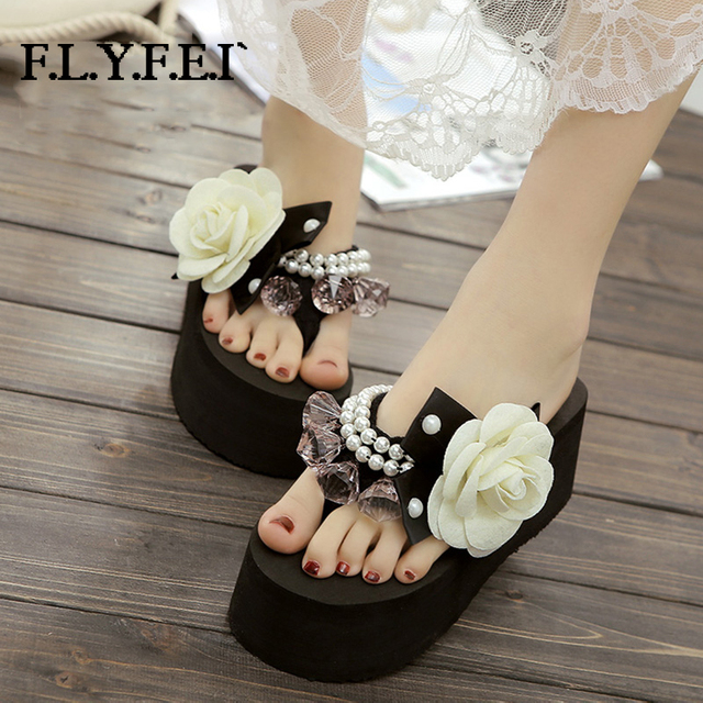 Flyfei High Quality Women Platform Wedge Flip Flops Rhinestone Bowknot Pearl Decorate Nice Cusual Party