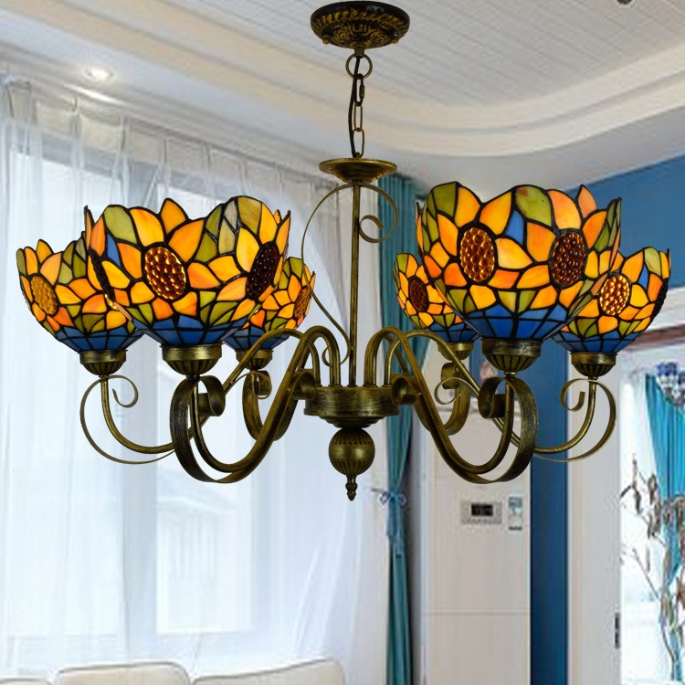 Tiffany Baroque Stained Glass Suspended Luminaire E27 110-240V Chain Pendant lights  for Home Parlor Dining Room tiffany baroque sunflower stained glass iron mermaid wall lamp indoor bedside lamps wall lights for home ac 110v 220v e27