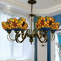 Tiffany Baroque Stained Glass Suspended Luminaire E27 110 240v Chain Pendant Lights For Home Parlor Dining Room|chain pendant lighting|pendant lights|lights for home -