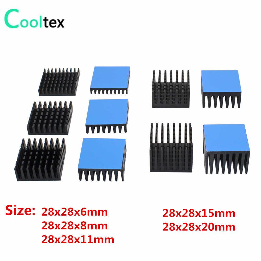 28X28 Mm Aluminium Heatsink Heat Sink Radiator untuk Elektronik Chip Terintegrasi Sirkuit Pendingin Cooler dengan Thermal Pita Konduktif