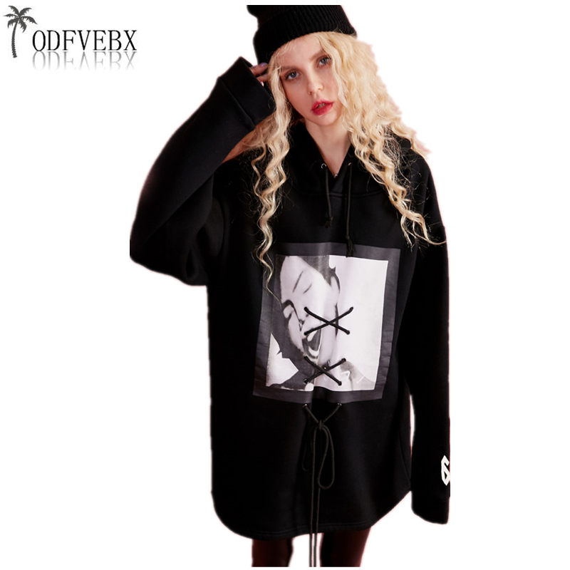 Dentelle Nouvelle Automne mojito Up Hop 2019 Femmes Imprimé Capuche Lâche Hip Black Printemps À Harajuku Ladie Mode Surdimensionné Bandage Sweat Wa42 35L4RAj