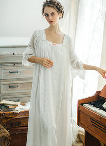 Image 5 - Gezonde Thuis Jurk Nachtjapon Vrouwen Plus Size Lange Witte Katoenen Nachtkleding Flare Mouwen Casual Sleep Shirt Lady T39