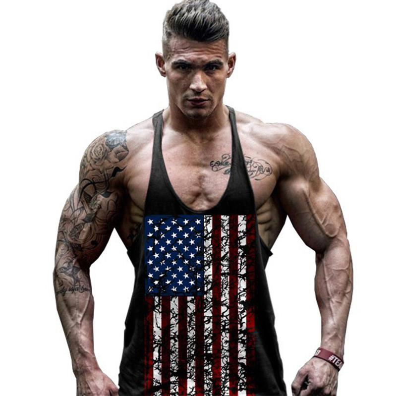 Men's Pro American Flag Fitness Gyms Singlets Bodybuilding Tank Tops Muscle Vest Stringer Sleeveless Shirt Tees Clothing