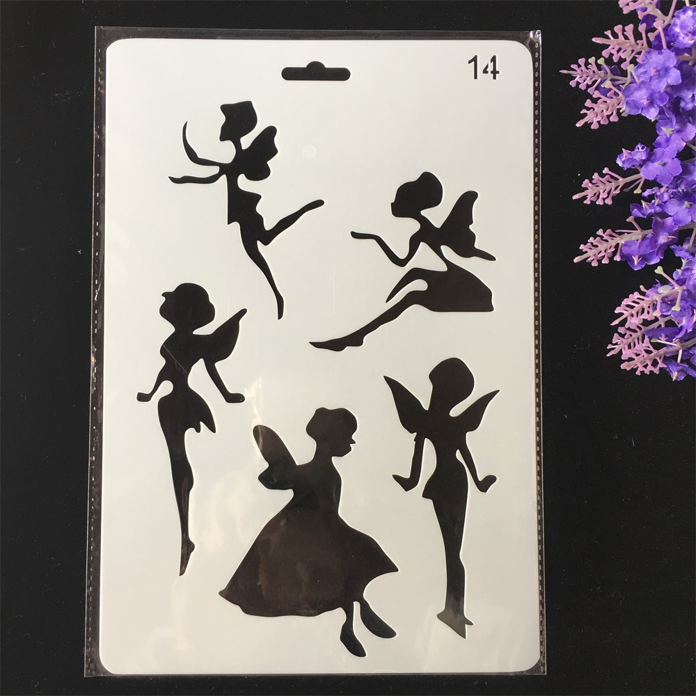 Hot 26cm Fairy Girl DIY Craft Layering Stencils Painting Scrapbooking Stamping Embossing Album Paper Card Template