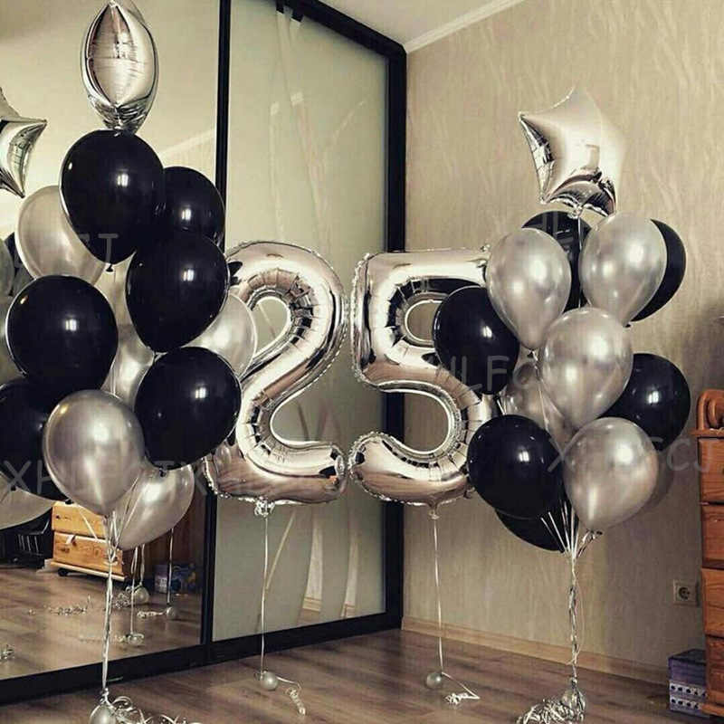 25pcs Lot 40inch Silver Number 25 Balloons Adult Birthday Party Decorations Kids Star Black Latex