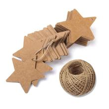 100pcs Christmas Gift Tags With String Kraft Paper Blank Star Shape Gift Tag For DIY Hang Price Labels Greeting Card Crafts