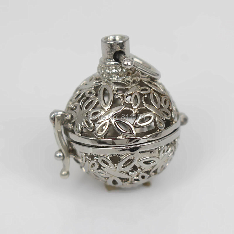 37x23mm Round Cage Filigree Butterfly Brass Chiming Ball Locket Pendant Essential Oil Diffuser Settings Findings Rhodium tone