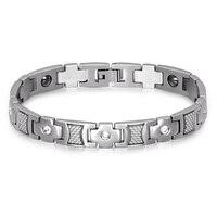 HIP Men S Health Magnetic Bracelet 21CM Long Stainless Steel Crystal Pave Cross Decoration Bio Energy