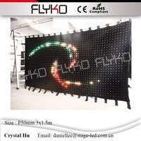 Dj booth customized hot demension P50mm 3x1.5m black wall RGB3in1 led lights display video curtain stage cloth for bar table