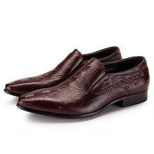 купить New Arrival Crocodile Pattern Genuine Leather Shoes Men Business Dress Shoes Pointed Toe High-end Wedding Shoes JS-A0052 онлайн