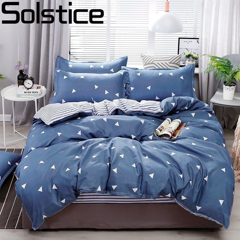 Solstice Pillowcase Bedding-Sets Quilt-Cover Flat-Sheets Plaid Comfort Soft Blue Diamond-Style