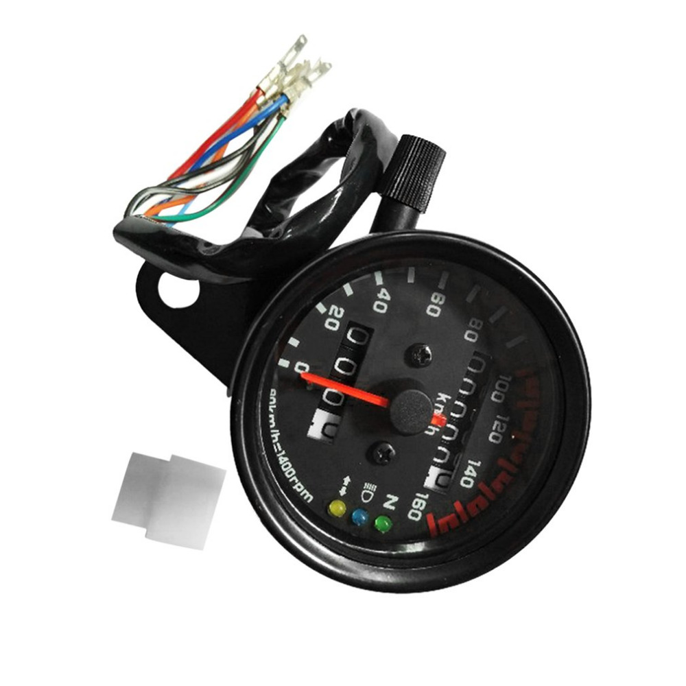 Universal Motorcycle Speedometer Odometer Gauge Dual Speed Meter with LCD Indicator Vintage Modification Accessory dc 12v motorcycle speedometer odometer gauge atv scooter backlit dual speed meter with led indicator 0 160km h xq 001